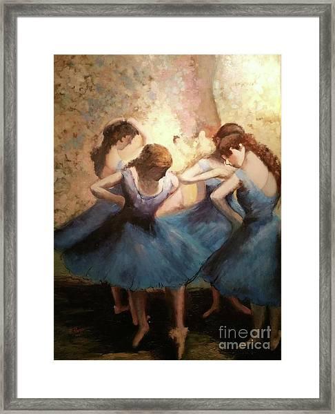 The Blue Ballerinas - A Edgar Degas Artwork Adaptation Framed Print