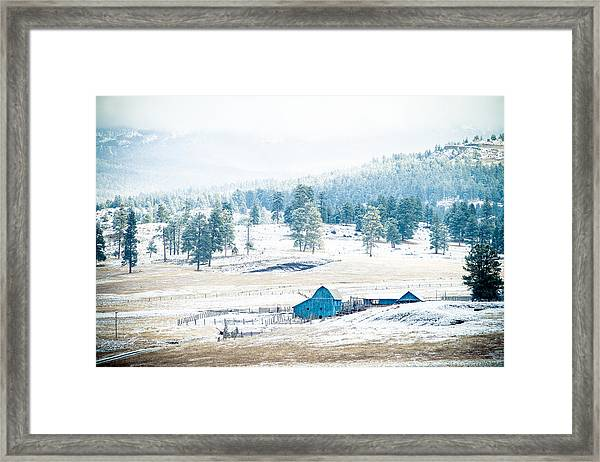 The Blue Barn Framed Print