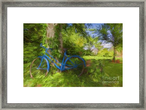The Blue Bicycle Framed Print