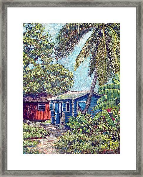 The Blue Cottage Framed Print
