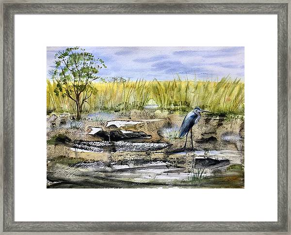 Framed Print featuring the painting The Blue Egret by Katerina Kovatcheva