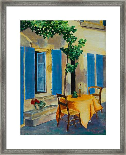 Framed Print featuring the painting The Blue Shutters by Elise Palmigiani