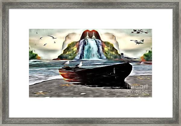 The Boat By The Riverbanks Waterfall Framed Print