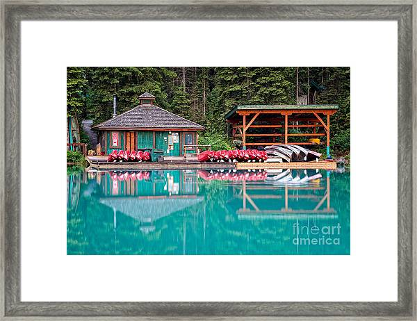 The Boat House At Emerald Lake In Yoho National Park Framed Print