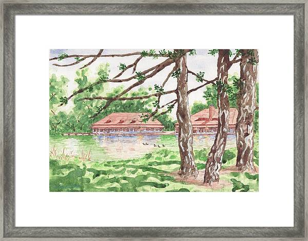 The Boathouse At Forest Park Framed Print
