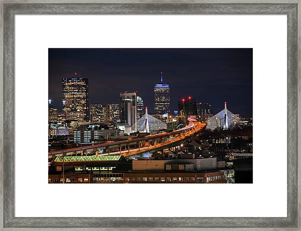 The Boston Skyline Boston Ma Full Zakim Framed Print