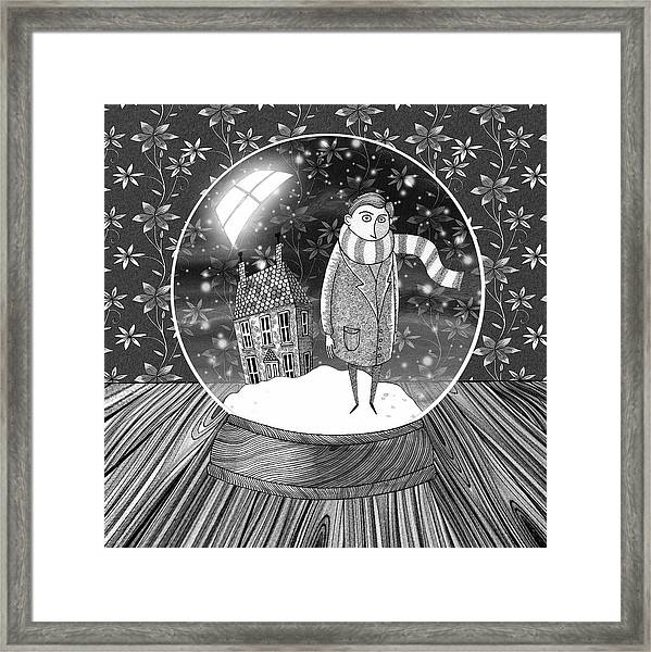 The Boy In The Snow Globe  Framed Print