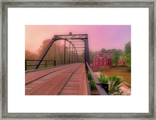 The Bridge To War Eagle Mill - Arkansas - Historic - Sunrise Framed Print