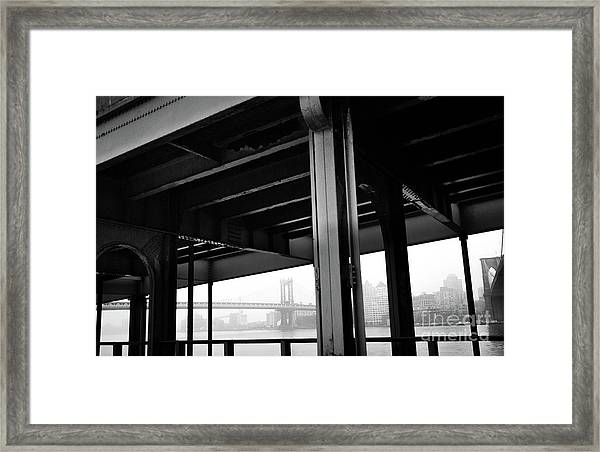 The Brooklyng Bridge And Manhattan Bridge From Fdr Drive Framed Print