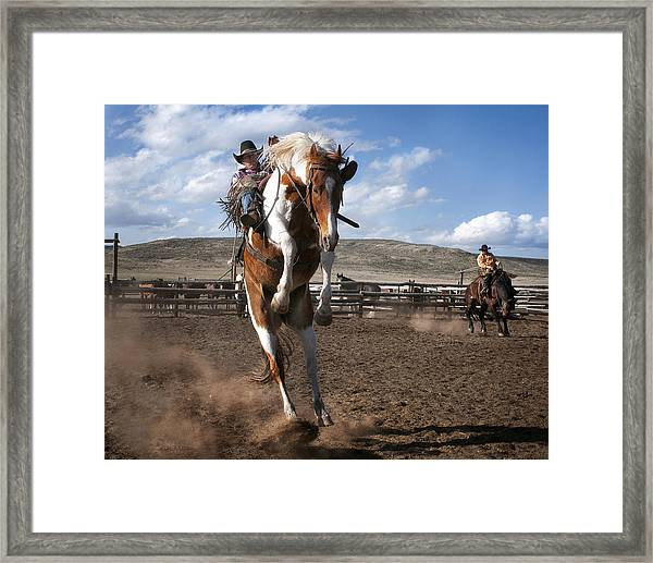 The Buckout At Sombrero Ranch Framed Print