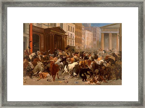 Framed Print featuring the painting The Bulls And Bears In The Market by William Holbrook Beard