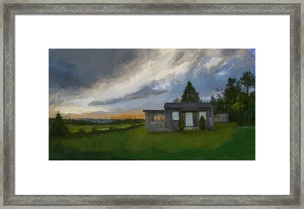 The Cabin On The Hill Framed Print