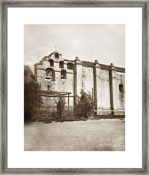 The Campanario, Or Bell Tower Of San Gabriel Mission Circa 1880 Framed Print