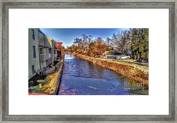 The Canal At New Hope In Winter Framed Print