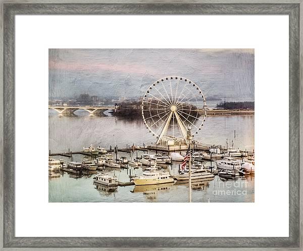 The Capital Wheel At National Harbor Framed Print