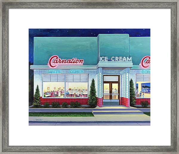 The Carnation Ice Cream Shop Framed Print