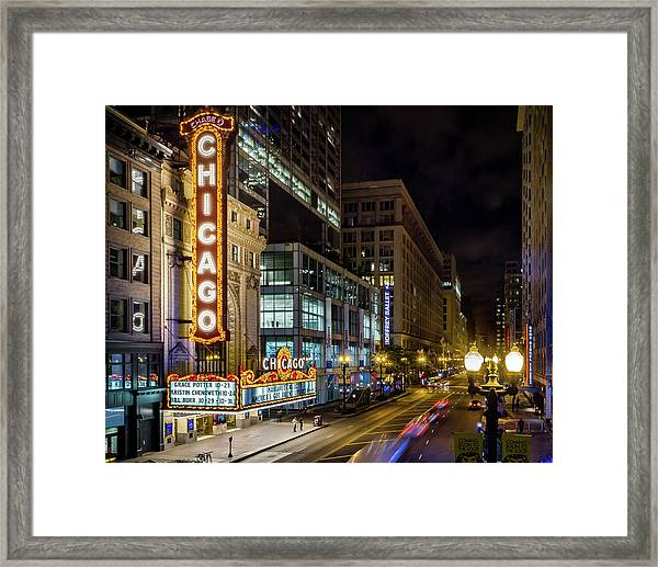 Illinois - The Chicago Theater Framed Print