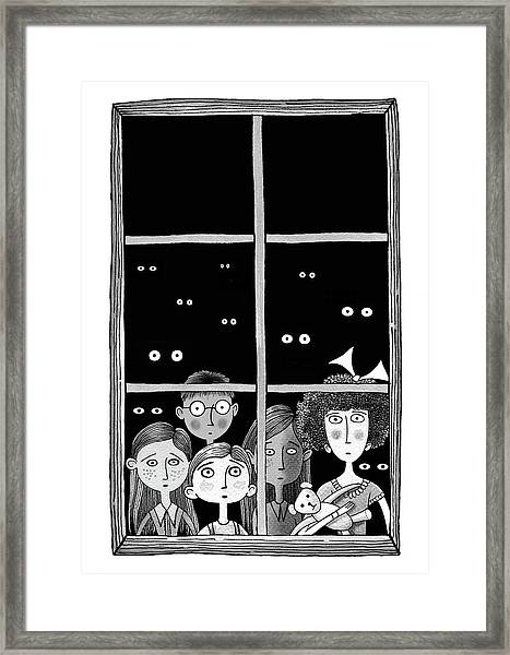 The Children In The Window Framed Print