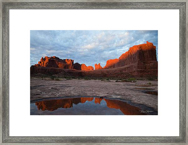 The Color Of Sunrise In Arches Framed Print