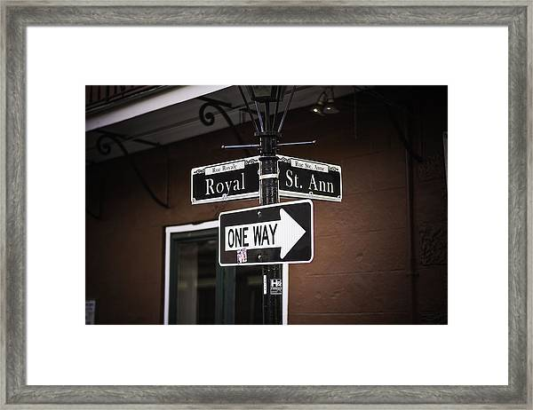 The Corner Of Royal And St. Ann, New Orleans, Louisiana Framed Print