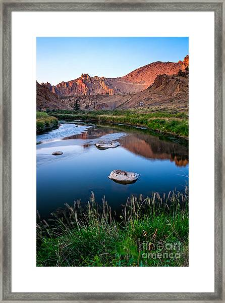 The Crooked River Runs Through Smith Rock State Park  Framed Print