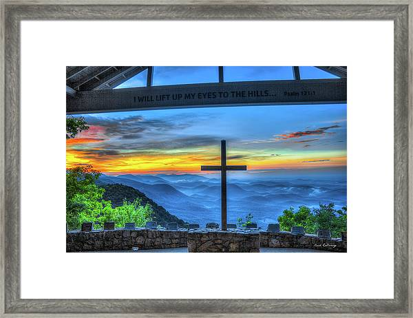 The Cross Sunrise At Pretty Place Chapel Framed Print