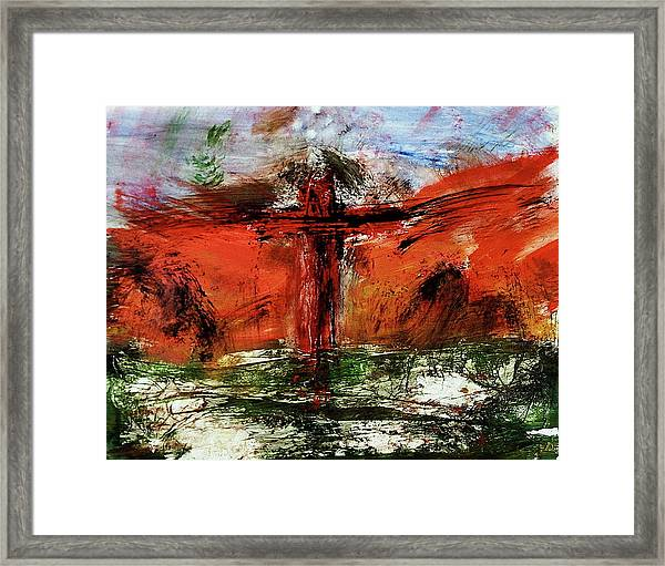 Framed Print featuring the mixed media The Crucifixion #1 by Michael Lucarelli
