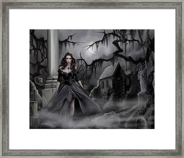 The Dark Caster Comes Framed Print