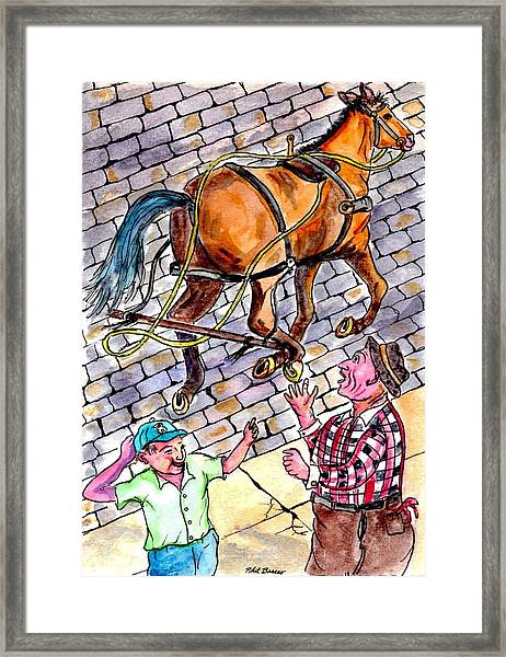 The Day The Fruit And Vegetable Horse Ran Away From The Wagon Framed Print