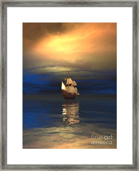 The Deep Blue Sea Framed Print by Sandra Bauser Digital Art