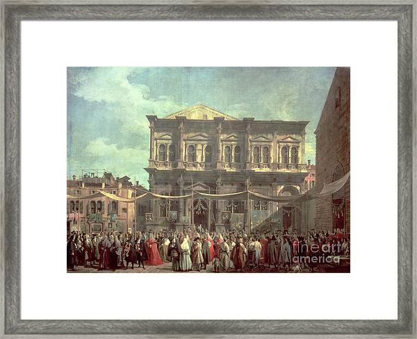 The Doge Visiting The Church And Scuola Di San Rocco Framed Print