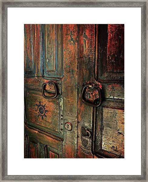 The Door Of Many Colors Framed Print