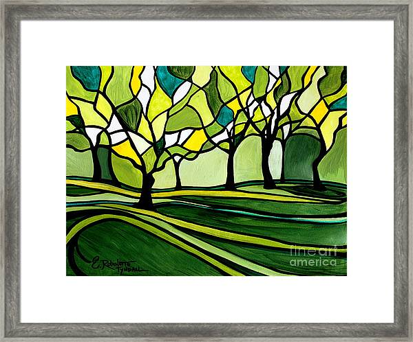 The Emerald Glass Forest Framed Print