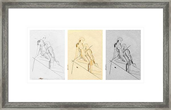 The Eternal Idol - Triptych - Homage Rodin Framed Print