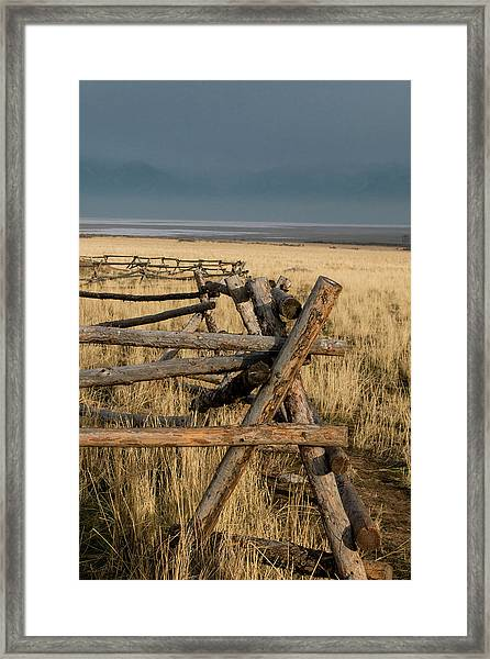 The Fence At Sunset Framed Print