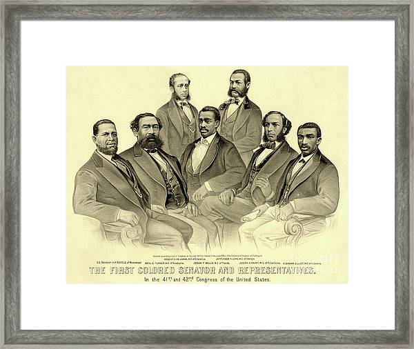 The First African American Senator And Representatives Framed Print