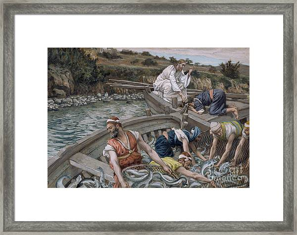 The First Miraculous Draught Of Fish Framed Print