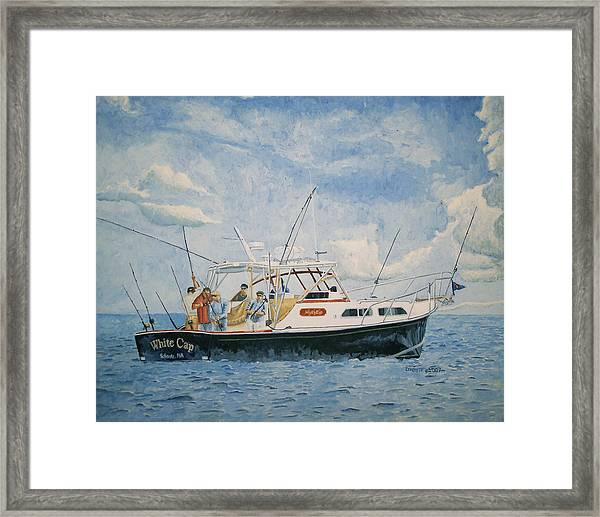 Framed Print featuring the painting The Fishing Charter - Cape Cod Bay by Dominic White