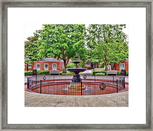 The Fountain At Radford University Framed Print