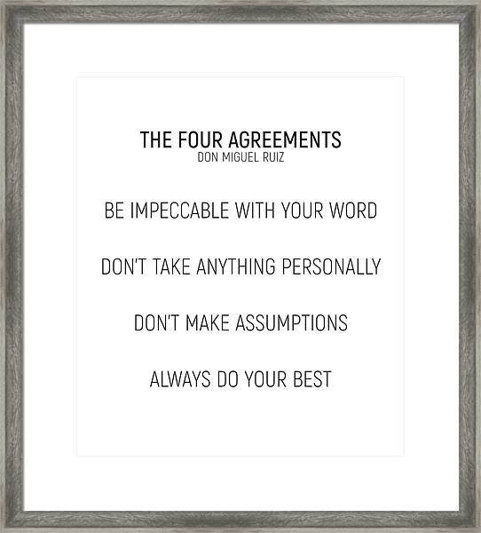 The Four Agreements #minismalism #shortversion Framed Print