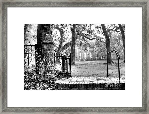 The Gates Of The Old Sheldon Church Framed Print