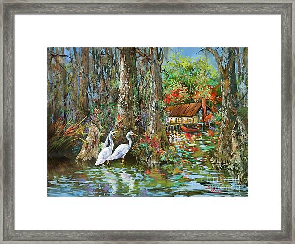 The Gathering - Louisiana Swamp Life Framed Print