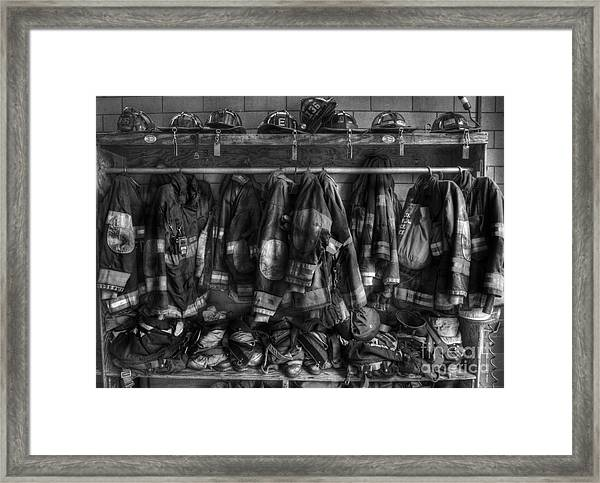 The Gear Of Heroes - Firemen - Fire Station Framed Print