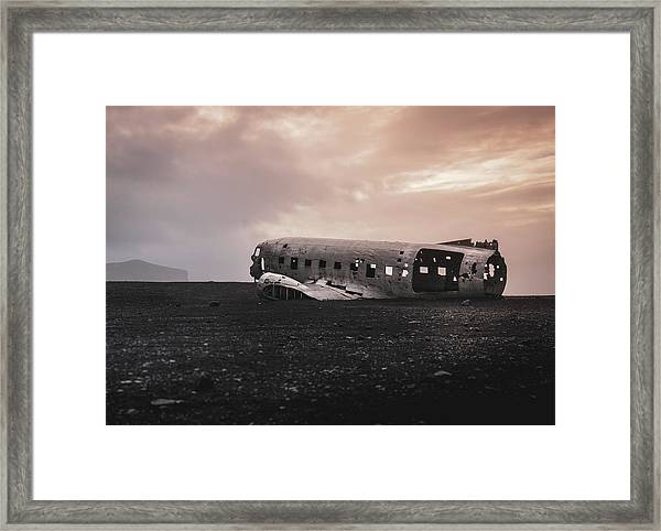 The Ghost - Plane Wreck In Iceland Framed Print
