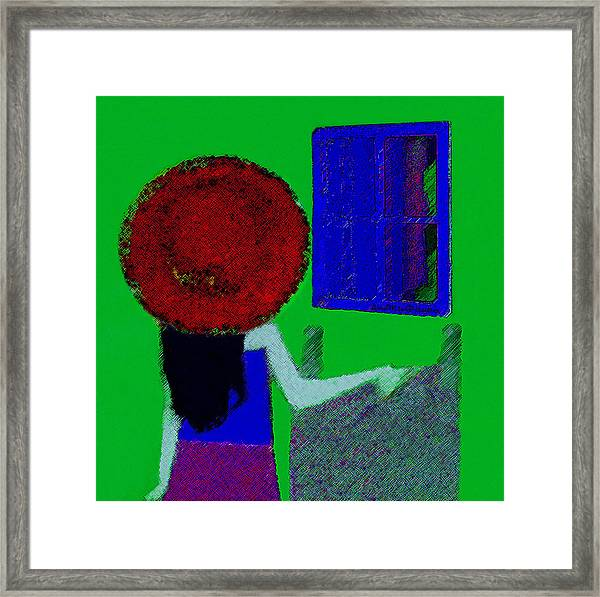 The Girl In The Mirror Framed Print