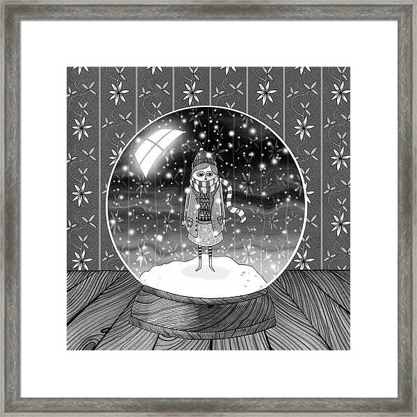 The Girl In The Snow Globe  Framed Print