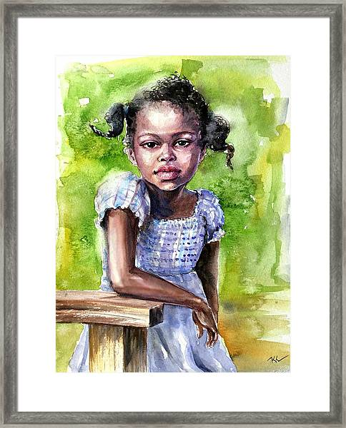 The Girl On The Veranda Framed Print