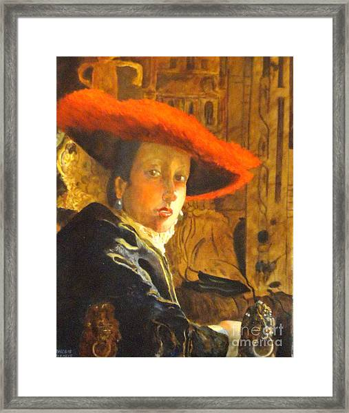 The Girl With The Red Hat After Jan Vermeer Framed Print