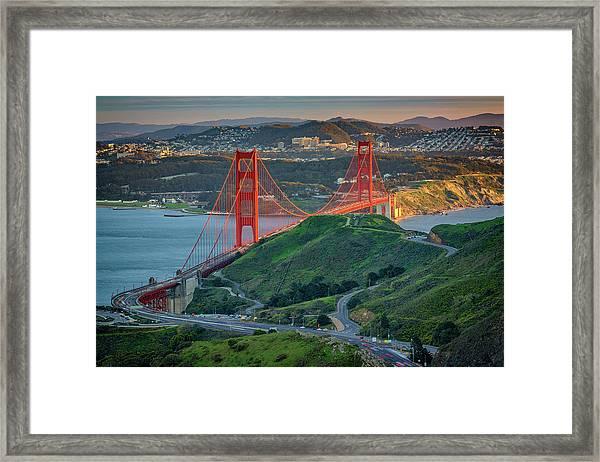The Golden Gate At Sunset Framed Print