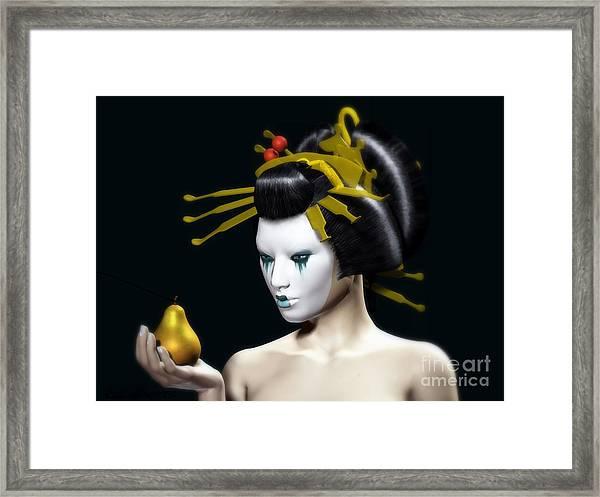 Framed Print featuring the digital art The Golden Pear by Sandra Bauser Digital Art